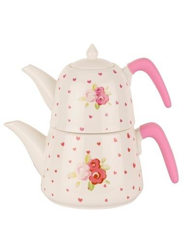 Porselen Pink Rose Çaydanlık Takımı-Tantitoni